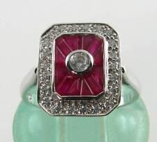 IMPRESSIVE 9CT 9K WHITE GOLD INDIAN RUBY DIAMOND ART DECO INS RING FREE RESIZE