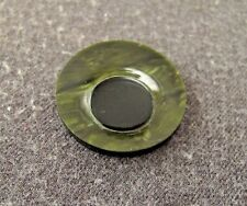 Marbled Green Galalith Rounded Eye Applique Antique 1930'S Art Deco Black &