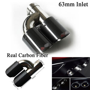 Black Glossy Real Carbon Fiber Car SUV Left Exhaust Dual Pipe Tail Muffler Tip