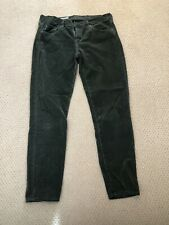 AG Adriano Goldschmied The Stevie Ankle Slim Leg Green Corduroy Pants Size 30