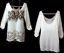 Maurices beige tribal metallic foil back strap crochet trim knit top 0, XL