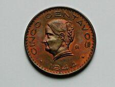 Mexico 1944 Mo 5 CENTAVOS Coin AU++ Red/Brown with La Corregidora Josefa Ortiz