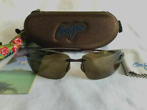 Maui Jim Breakwall H422-26 Polarized Rimless Sunglasses Rootbeer HCL Bronze