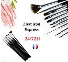 Lot de 10 Pinceaux Nail Art liner Ongles Deco Résine Acrylique Gel UV manucure