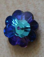 Swarovski Crystal 14 mm Round Flower Shape Blue Sew on 1 hole  Silvered Back