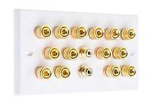 BIANCO 7.2 Audio Surround Altoparlante Piastra Muro Con Oro vincolante posti + RCA SOCKETS