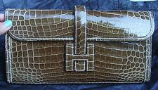 BRAND NEW HERMES POCHETTE JIGE ELAN Clutch 29 Crocodile FICE/SP12/GORGEOUS COLOR