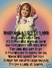 Nursery Rhyme Poster/Poem/Mary Had a Little Lamb/FairyTale/Fairytale/Stories
