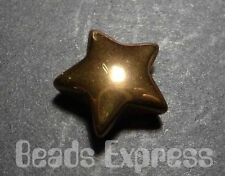 20pc 14mm Quality Metallic Glass Star Beads - Gold Plated (BA02)