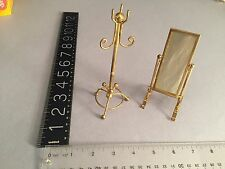 c1960's-70's Dollhouse Miniature brass standing mirror, and hat stand