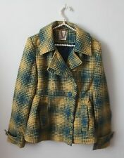 Tulle Anthropologie Cute Yellow Teal Blue Plaid Coat Jacket Sz XL Wool