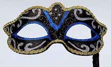 Venetian Party Masquerade Mask on a Hand Held STICK   BLUE GOLD BLACK & BRONZE