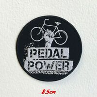 Pedal Power Bicycle Badge Black Iron Sew on Embroidered Patch #1543B
