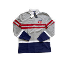 Polo Ralph Lauren Crest Shield Rugby Jersey Shirt Grey New W/Tags Men's M