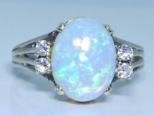VINTAGE 14CT WHITE  GOLD CABOCHON OPAL SINGLE STONE RING SIZE O