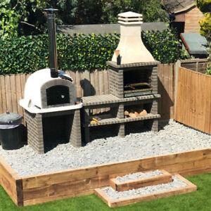 Grey brick masonry Mediterranean BBQ with wood fired pizza oven, 2,8m x 2.2m