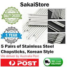 AU Korean Style Durable Stainless Steel Chopsticks Gift 5 Pairs