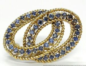 GIA No Heat 4ctw Burma Sapphire 18k Gold Pin DBL Circle Wedding Marriage Brooch