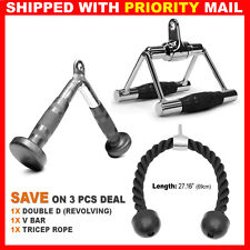 Home Gym Attachments Tricep Rope Seated Row Handle Revolving V Curl Bar Set