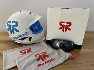 RUROC RG1-X FULL FACE Ski / Snowboarding Helmet WHITE + BLUE With GOGGLES Size S