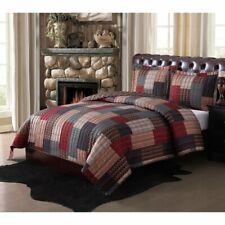 Queen Size Bedding Quilt Set Full Rustic Lodge Farm Cabin Patchwork Design 3Pc