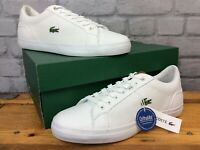 LACOSTE MENS UK 8 EU 42 WHITE TAN LEROND LEATHER TRAINERS  LG