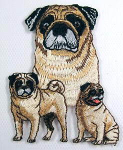 Pug heat seal embroidered badge