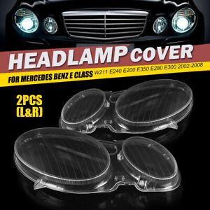 Headlight Lens Replacement Cover Left + Right For Benz W211 E350 E300 E200 02-08