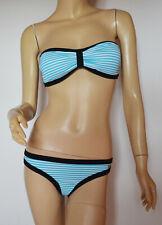 Bench gestreifter Bandeau Bikini  weiß/türkis Gr. 36 Cup C/D - Neu