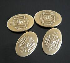 Vtg 30s Krementz Cufflinks 14K Gold Overlay US Naval Academy Crest Logo Set