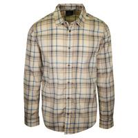 prAna Men's Cream Brown Blue Plaid L/S Woven Shirt (S51)