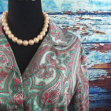 XL Jones NY Womens Blouse Top Paisley Button Down Shirt Tie Waist Cotton Casual
