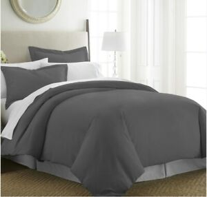Home Luxury Collection Soft Brushed Microfiber Duvet Cover Set, Queen/ Gray