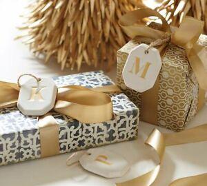 Pottery Barn St Jude Alphabet Tag Ornament B monogram NEW Ceramic Gift Christmas