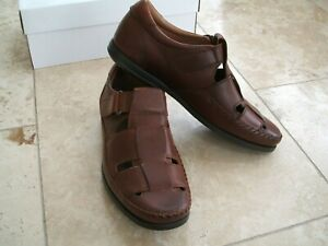 Clarks 'Gala Strap' Dark Tan Leather Shoes - Size UK 11