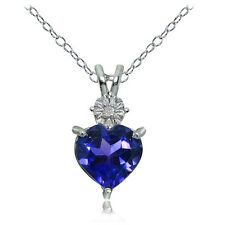 Sterling Silver Created Blue Sapphire and Diamond Accent Heart Necklace