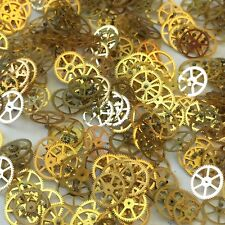 25 Shiny Gold Watch Wheels altered art parts Gears steampunk vtg watchmakers lot