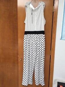 Lily Womens Polka Dot Sleeveless Pants Romper White Black Size Medium