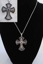 "Natural Champagne Diamond Accent Coptic Cross 20"" Necklace Platinum Bond/Brass"