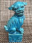 Chinese Temple Blue Turquoise Foo Dog  Guardian Dog Foo Lion 6 5 h X 3 w Ceramic
