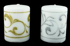 """Gold Silver Glitter Elegant Holiday Special Occasion Pillar Candle Set 4"""""""