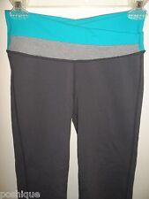 Lululemon 4 Workout Athletica Stretch Yoga Pants Leggings Grey Turquoise Biking