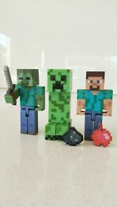 Minecraft Set of 3 - Creeper, Steve & Zombie with Sword Figures (New No Box)