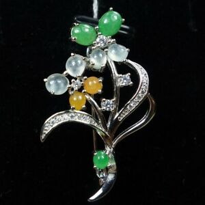 Certified Green+Icy White+Yellow 100% Natural A jadeite Jade Brooch S925silver胸针