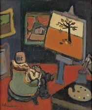 Abe Birnbaum Listed American Illustrator New Yorker oil painting New York City