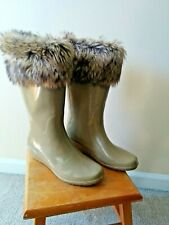 CHARLOTTE RUSSE FLASH II Wedge Snow Rain Boot  with faux fur trim  size 9