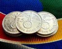 1938 A 5 Mark German WW2 Silver Coin (1) Third Reich Swastika Reichsmark