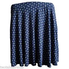 Asos Navy Blue & White Polka-Dot Skater Skirt Dot Elasticated Stretch NEW UK 12