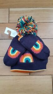 🌈 Next Baby Girls RAINBOW Bobble Hat And Mittens Set Size 1-2 Years BNWT 🌈