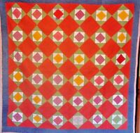 ANTIQUE DIAMOND in SQUARE QUILT 1880s CHECKED HOMESPUN BACK